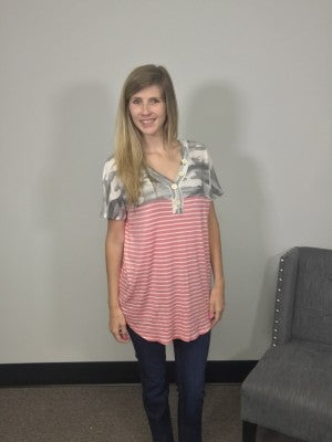 HoneyMe Pink Camo and Pink Striped Short Sleeve Henley Style Top