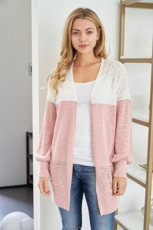 White Birch Long Sleeve Color Block Knit Cardigan