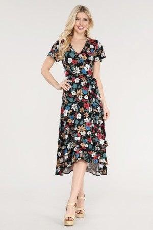Floral V-Neck Wrap Dress