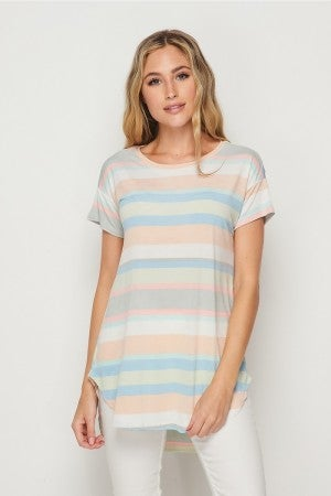 HoneyMe Sage and Peach Striped Tunic Top