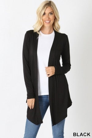 Drapey Open Front Long Sleeve Cardigan in Black