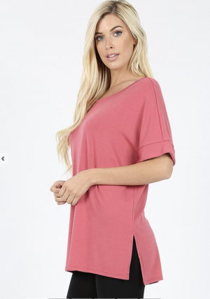 Rolled Sleeve Crew Neck Tee Side Slits High Low Hem Plus Sizes***MULTIPLE COLORS***