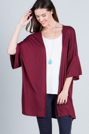 Basic Kimono Knit Cardigan in Wine