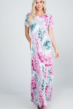 Large Floral Print Maxi Dress in Gray