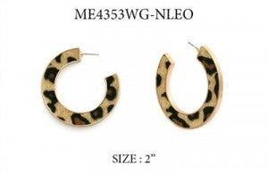 """Cheetah Print 2"""" Flat Hoop Earring"""