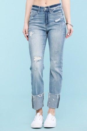 Judy Blue Light Wash Destroyed Cuff Straight Cut Jeans