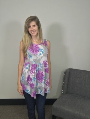Sew In Love  Sleeveless Tunic in Purple Floral