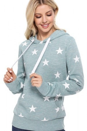 All Over Star Print Hoodie in Marled Smoky