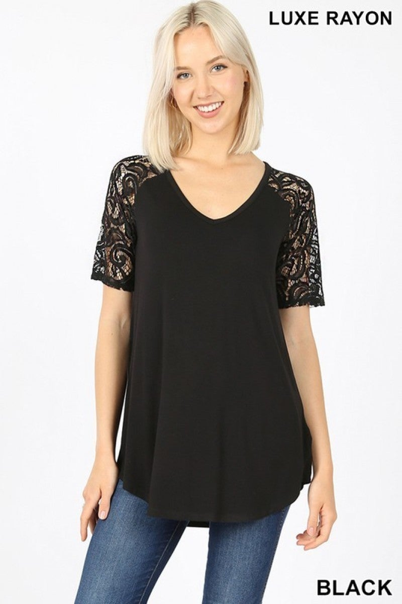 Luxe Rayon Lace Short Sleee V-Neck Dolphin Hem Top in Black