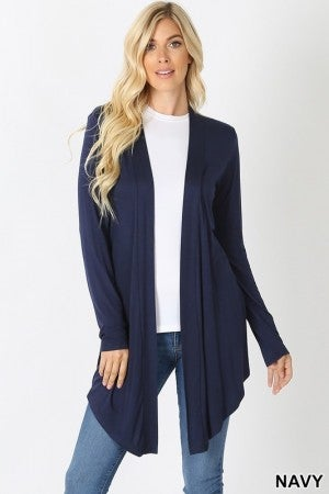 Drapey Open Front Long Sleeve Cardigan in Navy