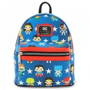 LOUNGEFLY X DC COMICS JUSTICE LEAGUE CHIBI PRINT FAUX LEATHER MINI BACKPACK