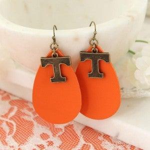 Tennessee Vintage Style Logo Leather Teardrop Earrings
