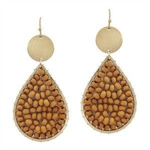 "Mustard Wood Wired and Gold 2"" Teardrop Earrings"
