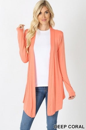Drapey Open Front Long Sleeve Cardigan in Deep Coral
