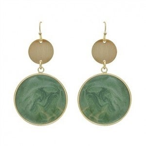 """Gold Circle with Mint Epoxy Drop 2"""" Earrings"""