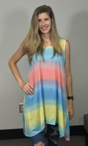 Pastel Tie Dye Stripe Tunic Top
