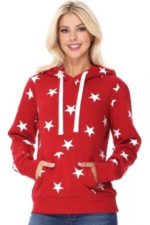 All Over Star Print Hoodie in Red