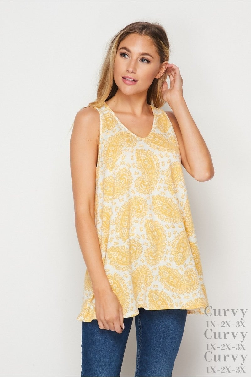 HoneyMe Ray of Sunshine Paisley Tank