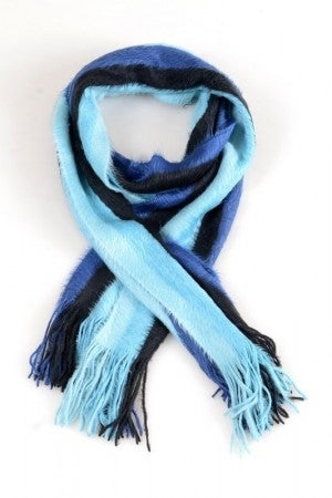 Fringed Oblong Scarf in Blue Tones
