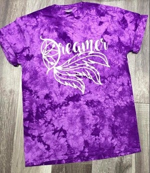 Purple Crystal Tie Dye Dreamer Graphic Tee