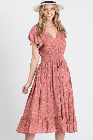 V Neck Mauve and Ivory Polka Dot Flare Dress