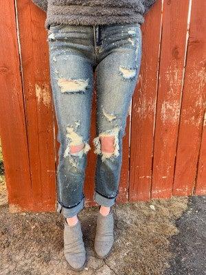 Judy Blue Destroyed Bleached Splash Boyfriend Jeans