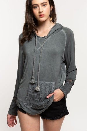 POL Hooded Top with Front Crochet Pocket