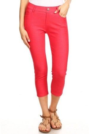 Women's Classic Solid Capri Jeggings in Red