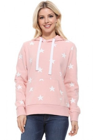 All Over Star Print Hoodie in Blush