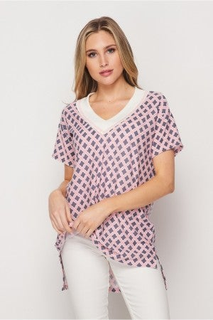 HoneyMe Pink Lattice Wide Band V-Neck Top