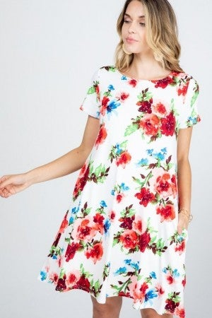 Floral Pocket Dress in Ivory