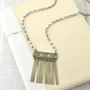 "36"" Vintage & Stone Necklace w/ Aztec Fringe Pendant"
