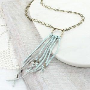 """32"""" Seafoam Leather Tassel Necklace"""