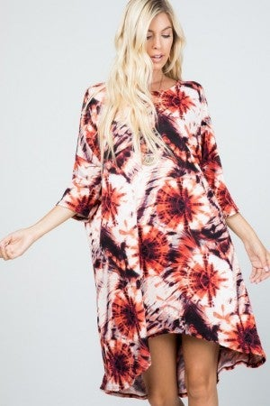 Short Sleeve Tie Dye Pocketed High Low Dress in Mauve