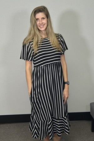 Stripe Print Midi Dress with Pockets Black