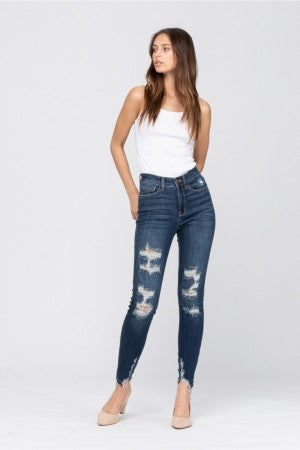 Judy Blue High Rise Cropped & Distressed Skinny Jeans