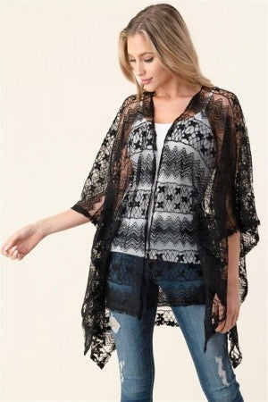 Small Flower Lace Kimono in Black