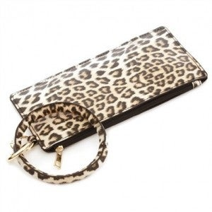 Vegan Leather Cheetah Print Key Ring with Wallet Attachment