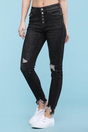 Judy Blue Destroyed Button Fly Black Skinny Jeans