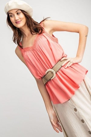 Easel Rayon Gauze Tank Top in Coral