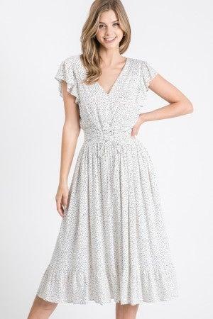 V Neck Ivory and Black Polka Dot Flare Dress