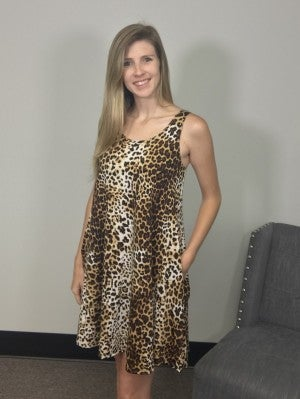 Leopard Print Tank Dress in Brown with Side Pockets