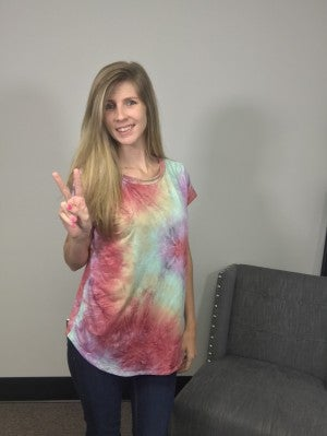 Sew In Love Rainbow Tie Dye Top with Twisted V-neck Design in Back
