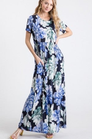 Large Floral Print Maxi Dress in Navy