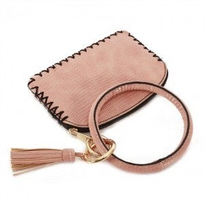 Vegan Leather Pink Key Ring with Wallet Attachment