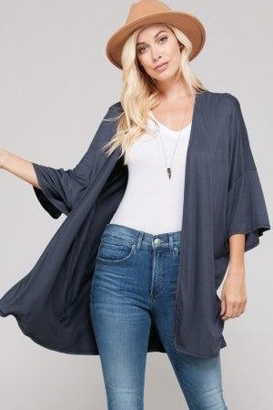 Basic Kimono Knit Cardigan in Charcoal