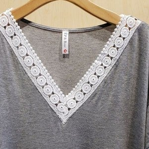 Lace Trimmed V-Neck Top in Gray