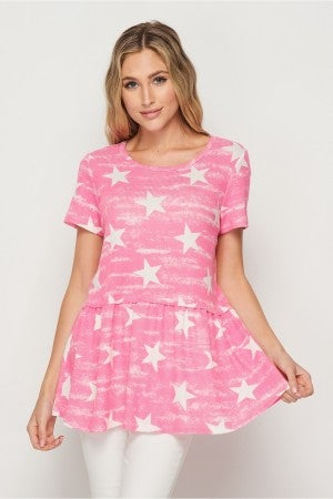 HoneyMe Pink Star Peplum Top