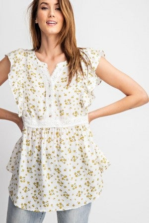 Ruffled Sleeves Woven Top in Off White