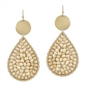 """Natural Wood Wired and Gold 2"""" Teardrop Earrings"""